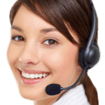 a customer representative with mic and headphone